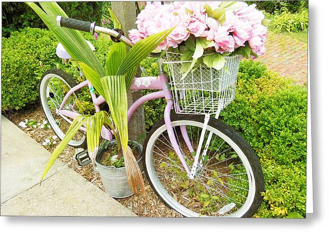Greeting Card featuring the photograph A Basket Of Peonies by Rosemary Aubut