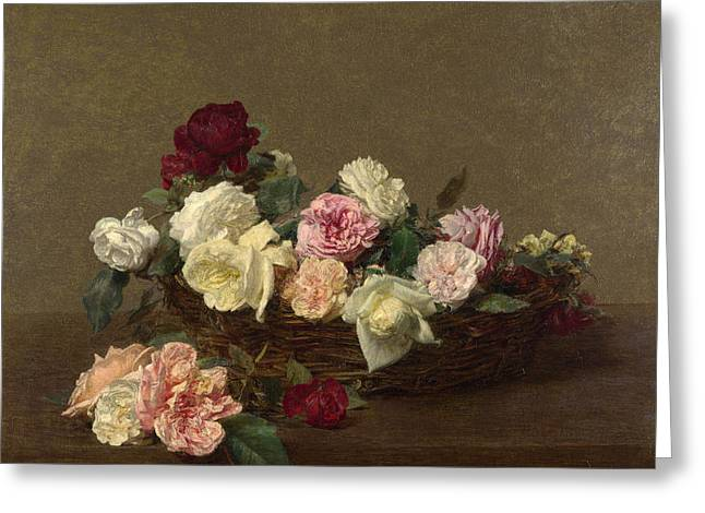A Basket Of Roses Greeting Card