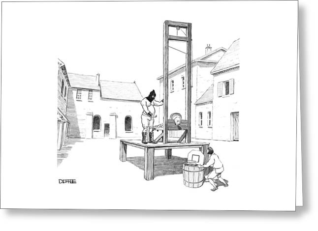 A Basketball Hoop Is Placed Under A Guillotine Greeting Card