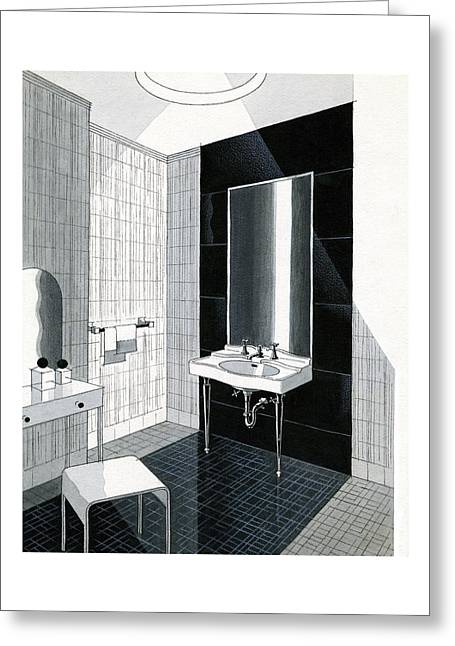 A Bathroom For Kohler By Ely Jaques Kahn Greeting Card