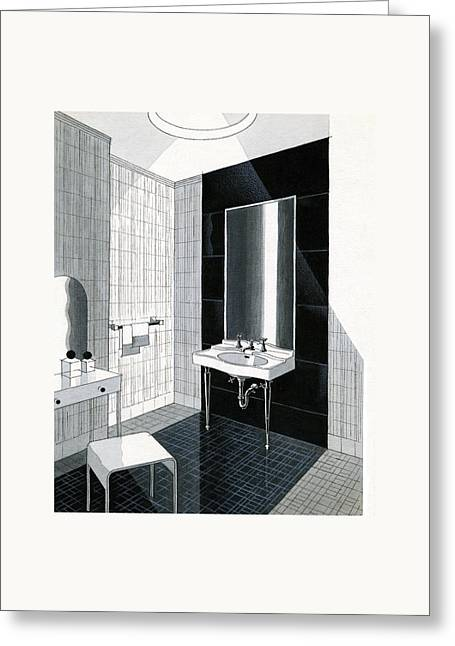 A Bathroom For Kohler By Ely Jaques Kahn Greeting Card by Urban Weis