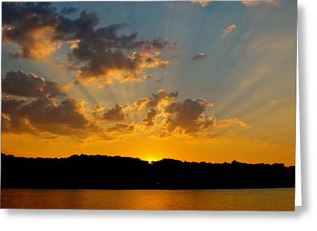 A Bay Sunset Greeting Card by Justin Connor