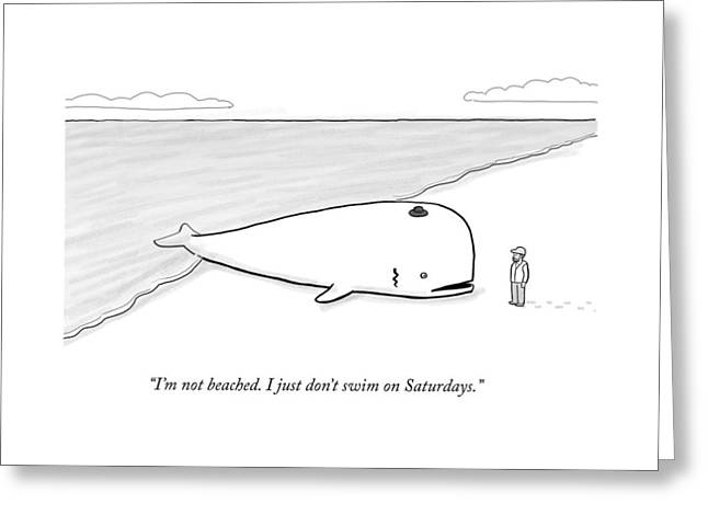 A Beached Whale Wears A Hasidic Rabbi Hat Greeting Card