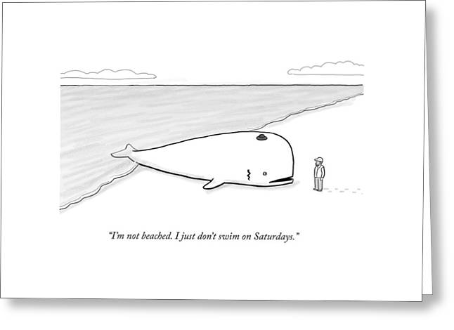 A Beached Whale Wears A Hasidic Rabbi Hat Greeting Card by Paul Noth