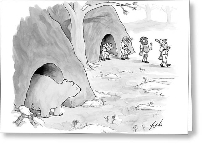 A Bear Emerges From A Cave Greeting Card