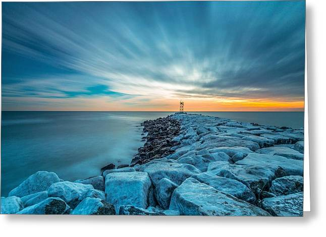 A Beautiful Sunrise At The Old Scituate Lighthouse Greeting Card