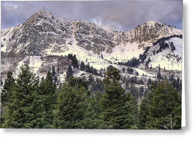 A Beautiful View Of Mount Ogden From Snowbasin 2/1 Pano Greeting Card