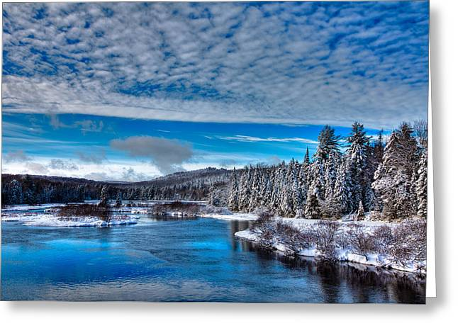 A Beautiful Winter Day At The Green Bridge Greeting Card by David Patterson