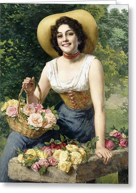 A Beauty Holding A Basket Of Roses Greeting Card by Gaetano Bellei