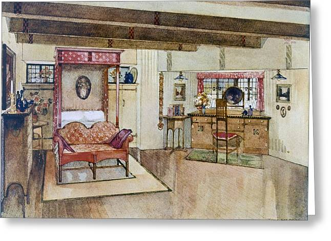 A Bedroom In The Arts & Crafts Style Greeting Card by Tom Merry