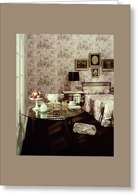 A Bedroom With Matching Wallpaper Greeting Card by Haanel Cassidy