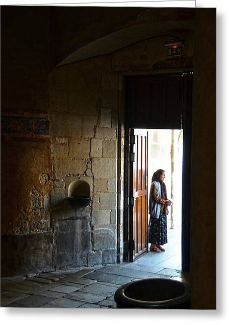 A Beggar At The Door Of A Church Greeting Card by RicardMN Photography