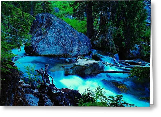 A Big Rock On The Way To Carter Falls Greeting Card by Jeff Swan