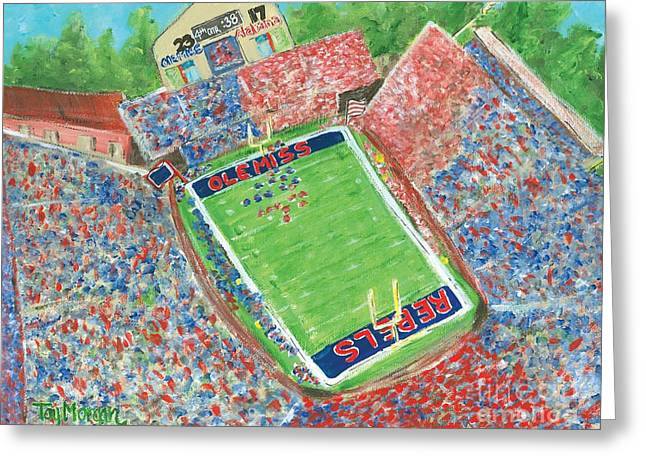A Big Win In Oxford Ole Miss Alabama Game Greeting Card by Tay Morgan