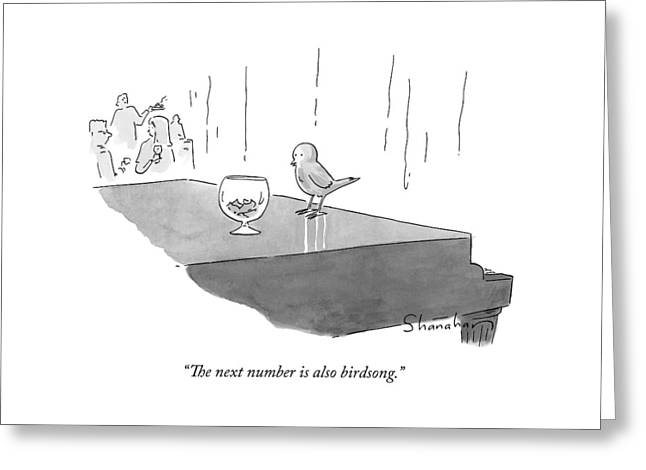 A Bird Piano Player At A Cocktail Lounge Speaks Greeting Card