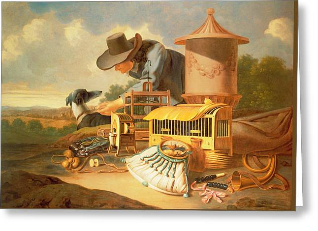 A Birdcatcher And His Dog  Greeting Card by Antonius Leemans