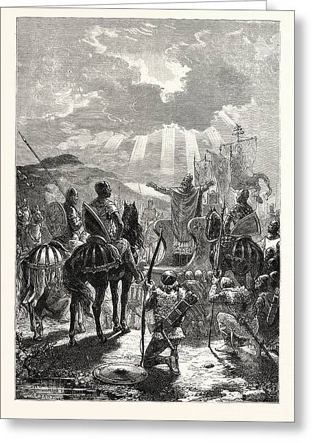 A Bishop Blessing The Troops Before The Battle Greeting Card