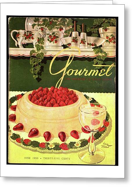 A Blancmange Ring With Strawberries Greeting Card