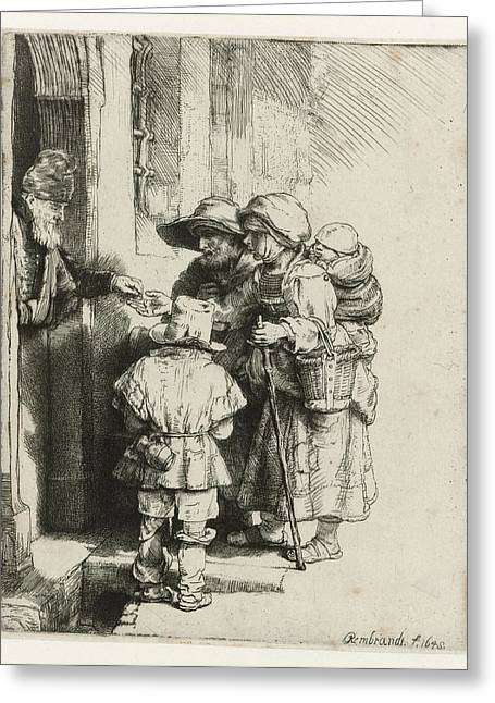 A Blind Hurdy-gurdy Player With Family Receives A Handout Greeting Card