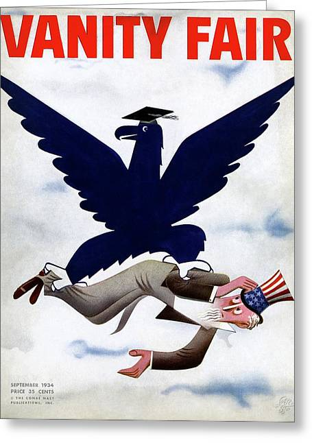 A Blue Eagle Carrying Uncle Sam Greeting Card by Paolo Garretto