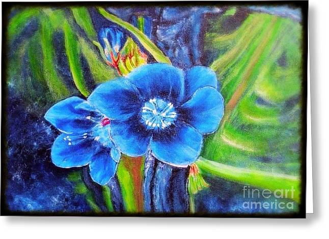 Exotic Blue Flower Prize For Blue Dragonfly Greeting Card