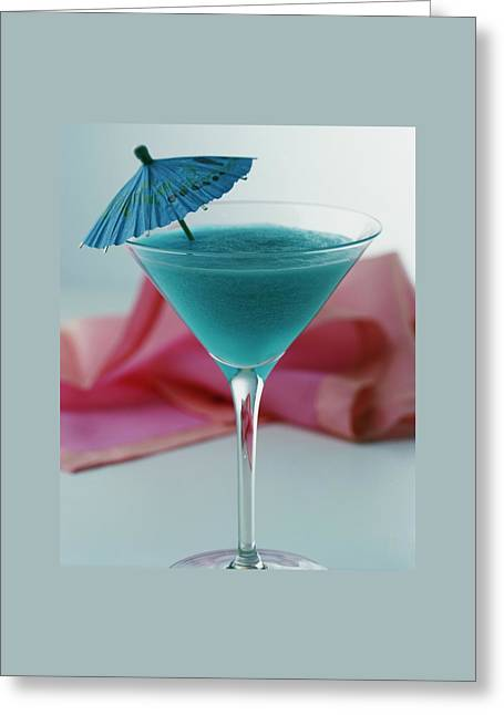A Blue Hawaiian Cocktail Greeting Card by Romulo Yanes