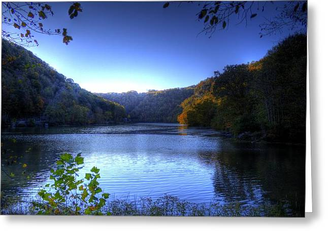 A Blue Lake In The Woods Greeting Card by Jonny D