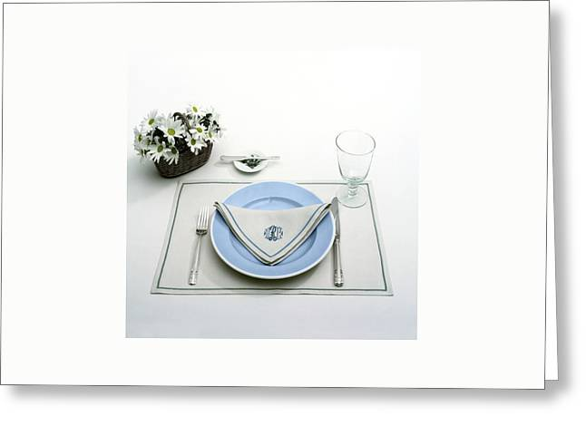 A Blue Table Setting Greeting Card by Haanel Cassidy