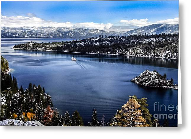 A Bluebird Day At Emerald Bay Greeting Card by Mitch Shindelbower