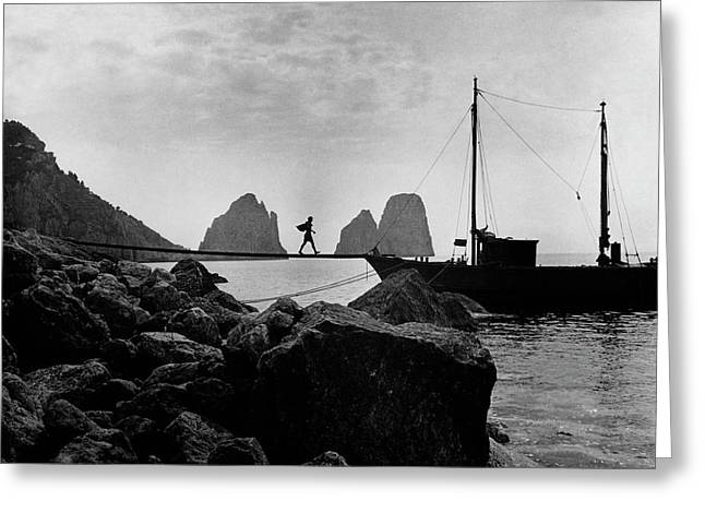 A Boat Docked At Capri Greeting Card by Clifford Coffin