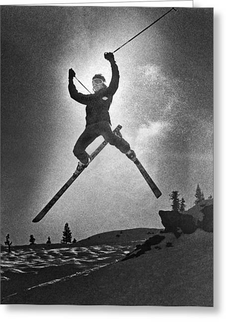 A Bold Leap By A Skier Greeting Card by Underwood Archives