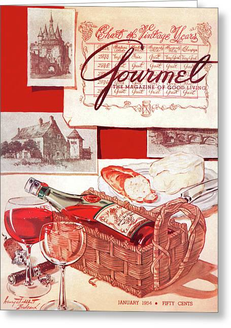 A Bottle Of Bordeaux And Some Melting Camembert Greeting Card by Henry Stahlhut