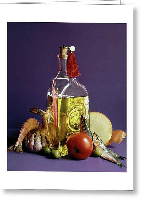 A Bottle Of Olive Oil Surrounded By A Variety Greeting Card