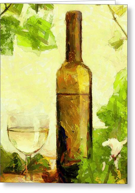 A Bottle Of Wine Greeting Card by Yury Malkov