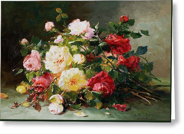 A Bouquet Of Roses Greeting Card by Eugene Henri Cauchois