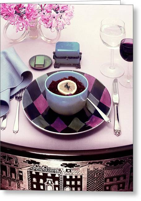 A Bowl Of Food On A Pink Table Greeting Card