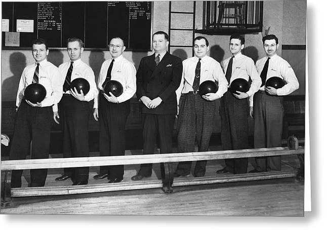 A Bowling Team With Balls Greeting Card by Underwood Archives