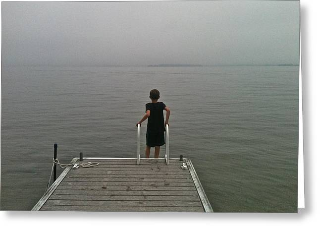 A Boy And A Lake Greeting Card