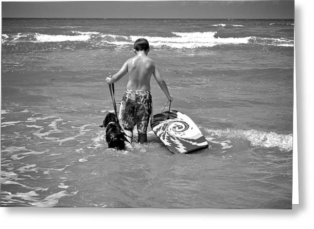 A Boy And His Dog Go Surfing Greeting Card by Kristina Deane