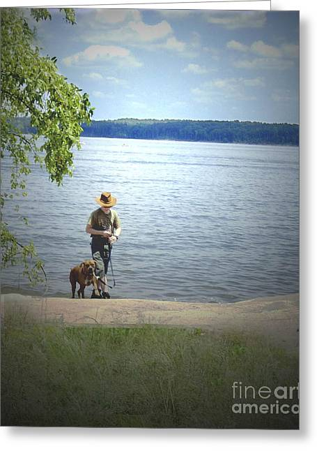 A Boy And His Dog Greeting Card by Sandra Clark