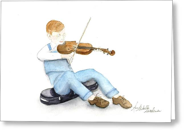 A Boy And His Violin Greeting Card