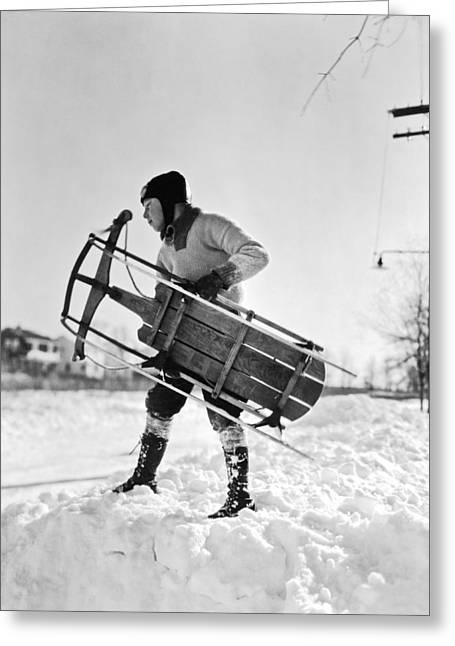 A Boy Carrying His Sled Greeting Card