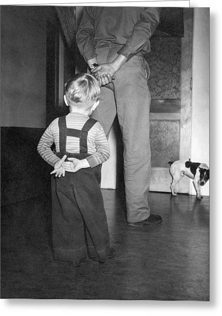 A Boy Imitates His Father Greeting Card by Underwood Archives