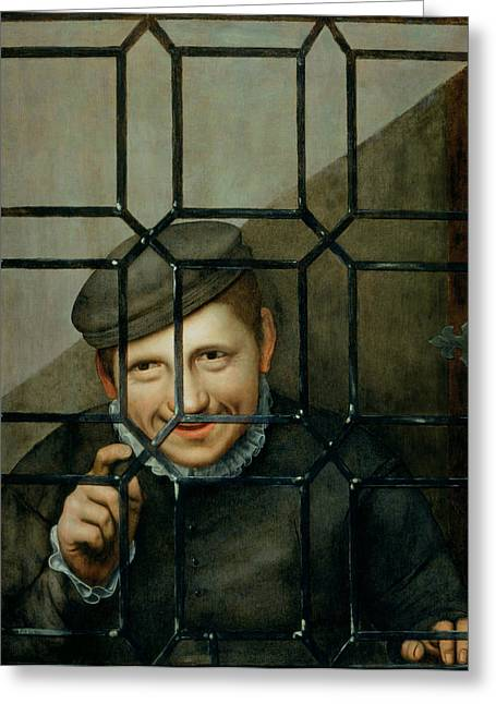 A Boy Looking Through A Casement Window Greeting Card