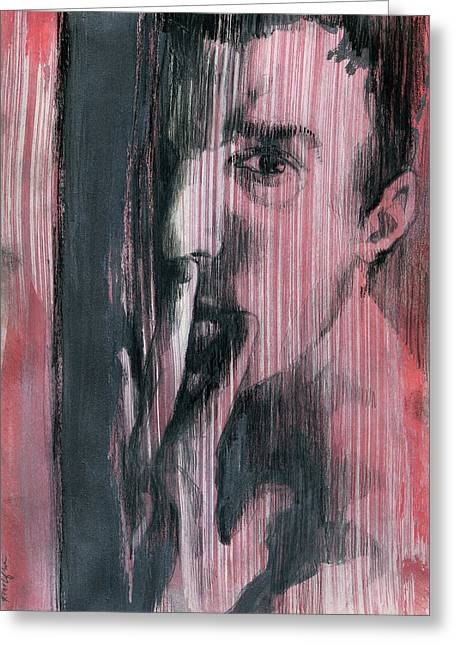 Greeting Card featuring the painting A Boy Named Silence by Rene Capone