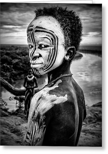 A Boy Of The Karo Tribe. Omo Valley (ethiopia). Greeting Card