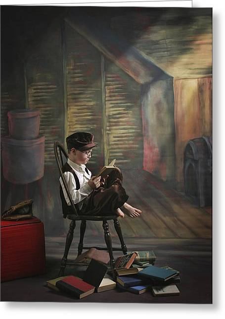 A Boy Posed Reading Old Books Victoria Greeting Card by Pete Stec