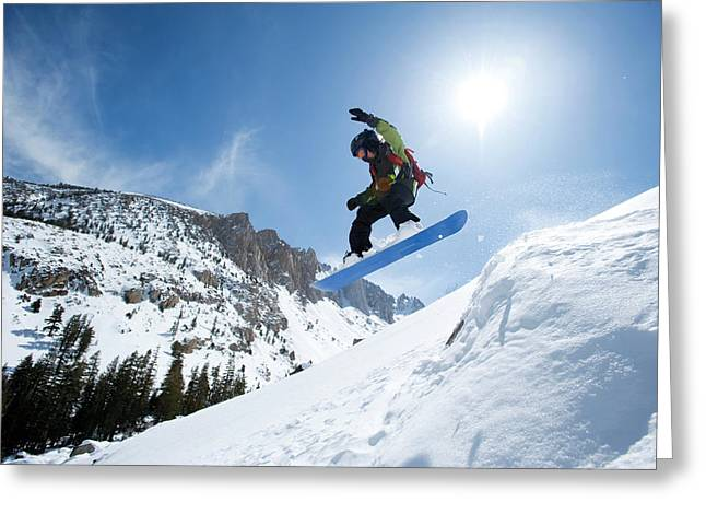 A Boy Snowboarding In The California Greeting Card