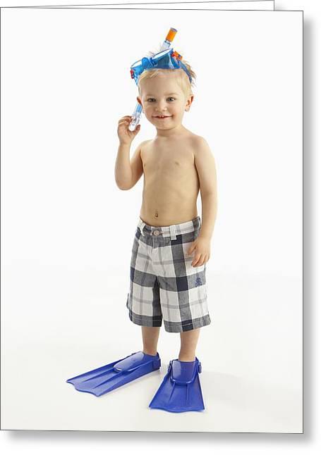 A Boy Wearing Snorkeling Gear Three Greeting Card by Ron Nickel