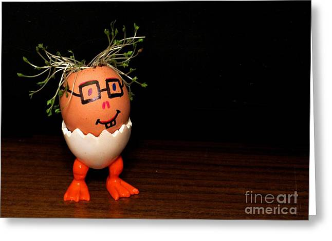 A Brave Eggman. Easter People Series Greeting Card by Ausra Huntington nee Paulauskaite